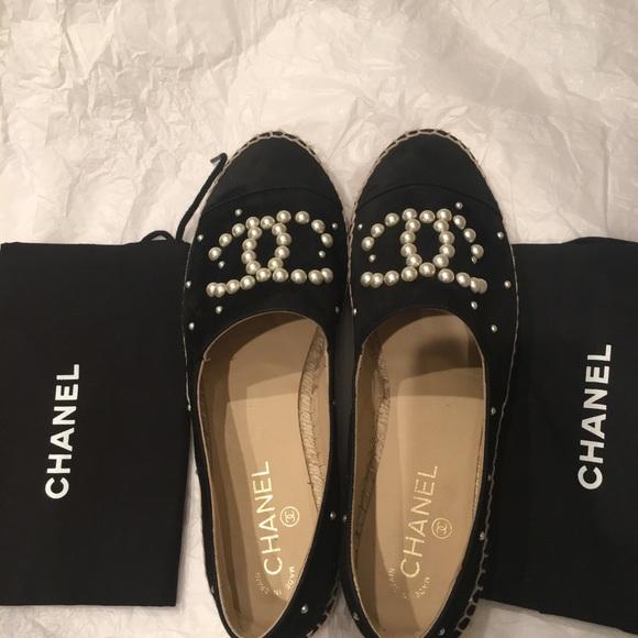 666124a169 CHANEL Shoes | Black Suede White Pearl Cc Espadrille | Poshmark
